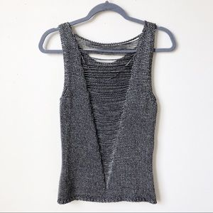 H&M Metallic Strappy Cut Out Back Sweater Tank